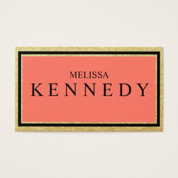 Professional Business Faux Gold Foil Business Cards Coral