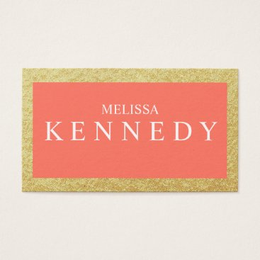 Professional Business Faux Gold Foil Business Cards Coral White Font