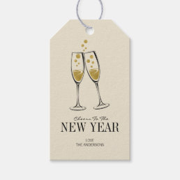 Faux Gold Foil Cheers New Year's Gift Tag