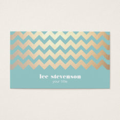 Faux Gold Foil Chevron Pattern And Turquoise Blue Business Card at Zazzle