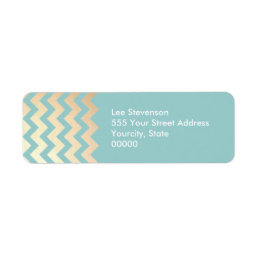 FAUX Gold Foil Chevron Pattern and Turquoise Blue Label