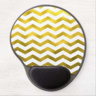 Faux Gold Foil Chevron Pattern White Metallic Gel Mouse Pad