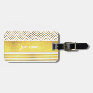 Faux Gold Foil Chevrons and Stripes Bag Tag