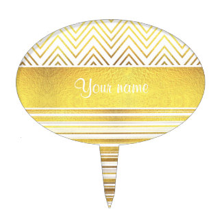 Faux Gold Foil Chevrons and Stripes Cake Topper