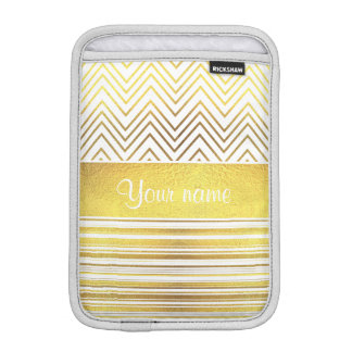 Faux Gold Foil Chevrons and Stripes Sleeve For iPad Mini