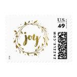 Faux Gold Foil Christmas Joy Wreath Postage