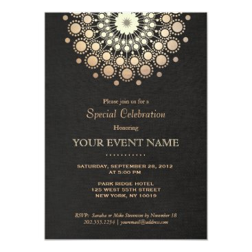 Professional Business Faux Gold Foil Circle Motif Black Formal Party Card