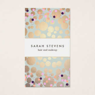 Faux Gold Foil Circles and Confetti Pattern Business Card
