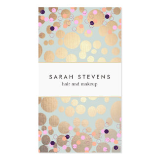 Faux Gold Foil Circles and Confetti Pattern Double-Sided Standard Business Cards (Pack Of 100)