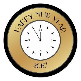 Faux Gold Foil Clock Midnight Happy New Year Invitation
