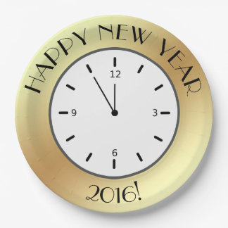 Faux Gold Foil Clock Midnight Happy New Year Paper Plate
