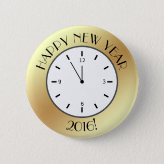 Faux Gold Foil Clock Midnight Happy New Year Pinback Button