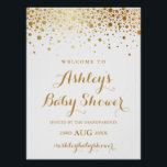 "Faux Gold Foil Confetti Baby Shower Welcome Sign<br><div class=""desc"">Modern and elegant baby shower sign featuring faux gold foil confetti. Other colors and matching items are available. Please note that there will be no actual gold foil - faux gold foil.</div>"