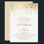"Faux Gold Foil Confetti Bat Mitzvah Invitation<br><div class=""desc"">Modern and elegant Bat Mitzvah invitation featuring faux gold confetti dots. Matching items are available.</div>"
