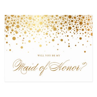 Faux Gold Foil Confetti | Be My Maid of Honor Card
