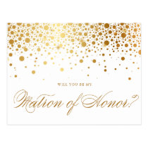 Faux Gold Foil Confetti   Be My Matron of Honor Postcard