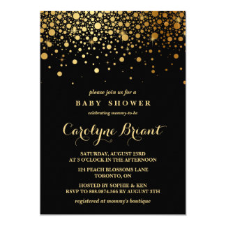 Faux Gold Foil Confetti | Black Baby Shower Card