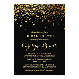 Faux Gold Foil Confetti | Black Bridal Shower Card