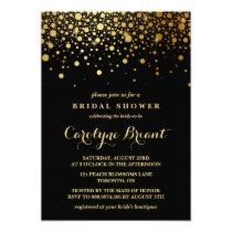 Faux Gold Foil Confetti | Black Bridal Shower Invitation