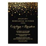 Faux Gold Foil Confetti | Black Rehearsal Dinner Card at Zazzle