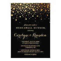 Faux Gold Foil Confetti | Black Rehearsal Dinner Card