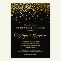 Faux Gold Foil Confetti | Black Rehearsal Dinner Card