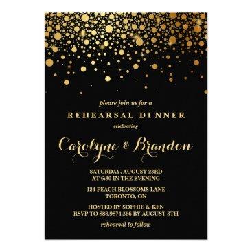 misstallulah Faux Gold Foil Confetti | Black Rehearsal Dinner Card