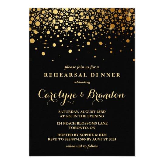 Rehearsal dinner invitations zazzle faux gold foil confetti black rehearsal dinner card stopboris Gallery