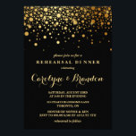 "Faux Gold Foil Confetti | Black Rehearsal Dinner Invitation<br><div class=""desc"">Modern and elegant rehearsal dinner invitation featuring faux gold foil confetti. This invitation is perfect for formal events. This design is available in other colors. Please note that there will be no actual foil in the invitation.</div>"