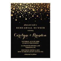 Faux Gold Foil Confetti | Black Rehearsal Dinner Invitation