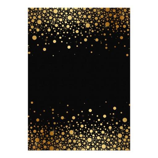 Faux Gold Foil Confetti Black Wedding Invitation (back side)