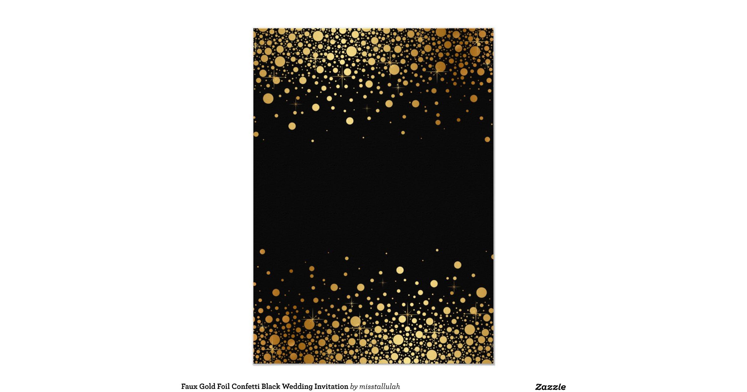 Faux Gold Foil Confetti Black Wedding Invitation