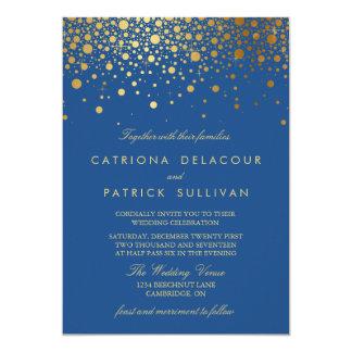 Faux Gold Foil Confetti Blue Wedding Invitation