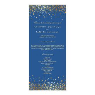 Faux Gold Foil Confetti Blue Wedding Program 4x9.25 Paper Invitation Card