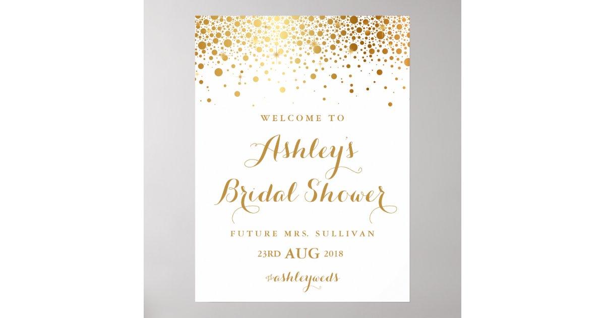 Faux Gold Foil Confetti Bridal Shower Poster   Zazzle.com