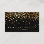 """Faux Gold Foil Confetti Business Card   Black<br><div class=""""desc"""">Customizable business card. This is faux gold foil - there will be NO actual gold foil.</div>"""