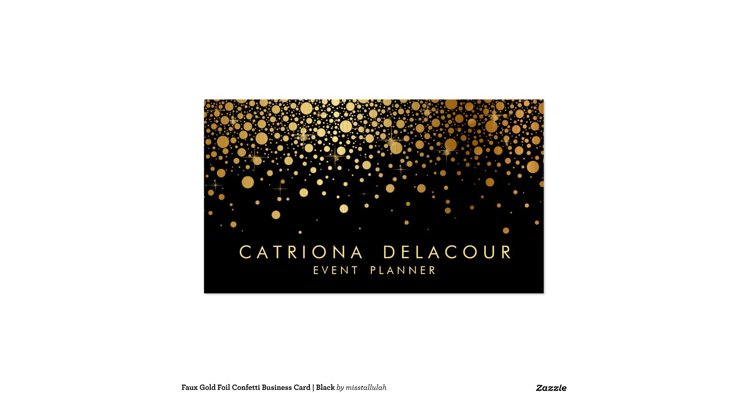 faux gold foil confetti business card black