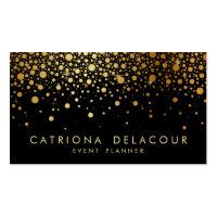 Faux Gold Foil Confetti Business Card | Black