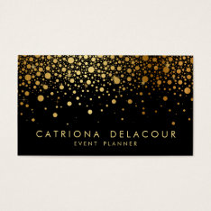 Faux Gold Foil Confetti Business Card | Black at Zazzle