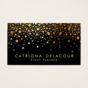 Gold foil business cards templates zazzle faux gold foil confetti business card black colourmoves Choice Image