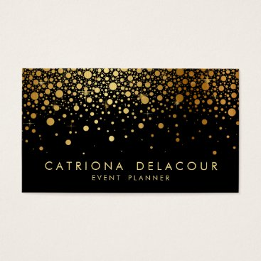 Professional Business Faux Gold Foil Confetti Business Card | Black