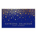 Faux Gold Foil Confetti Business Card   Blue