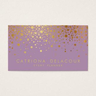 Faux Gold Foil Confetti Business Card   Lilac