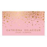 Faux Gold Foil Confetti Business Card | Pink