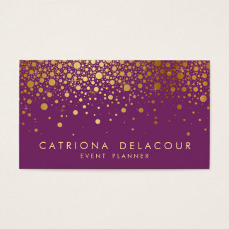 Faux Gold Foil Confetti Business Card | Purple