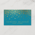 """Faux Gold Foil Confetti Business Card   Teal II<br><div class=""""desc"""">Customizable business card. This is faux gold foil - there will be NO actual gold foil.</div>"""