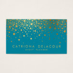 "Faux Gold Foil Confetti Business Card | Teal II<br><div class=""desc"">Customizable business card. This is faux gold foil - there will be NO actual gold foil.</div>"