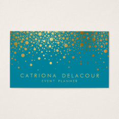 Faux Gold Foil Confetti Business Card | Teal Ii at Zazzle