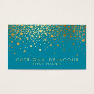 Gold foil business cards templates zazzle faux gold foil confetti business card teal ii colourmoves