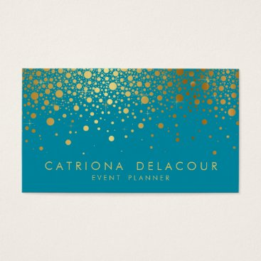 Professional Business Faux Gold Foil Confetti Business Card   Teal II
